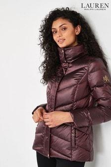 Lauren Ralph Lauren Burgundy Luxe Packaway Padded Jacket