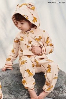 Polarn O. Pyret Disney The Lion King Cream Organic Cotton Simba Print Overall