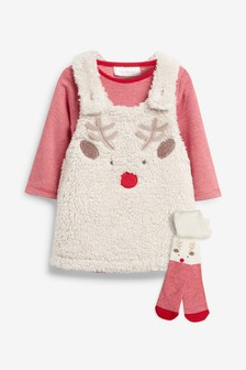 Reindeer Dress And Tights Set (0mths-2yrs)