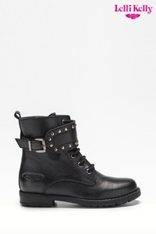 Lelli Kelly Black Lace-Up Stud Strap Boots