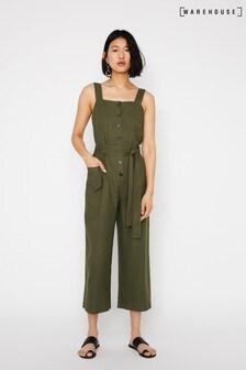 Warehouse Green Linen Button Front Jumpsuit