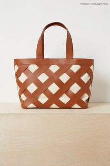 French Connection Brown Troy Leather And Canvas Bag