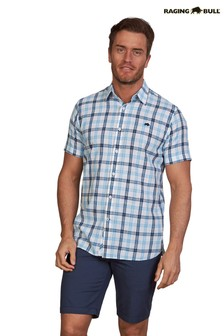 Raging Bull Sky Blue Block Check Short Sleeve Shirt
