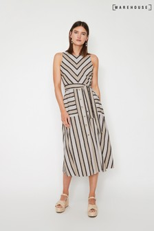 Warehouse Natural Stripe Linen Blend Midi Dress