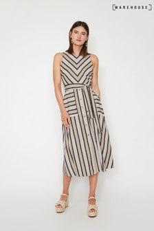 Warehouse Natural Stripe Linen Blend Midi Dress