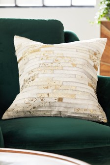 Cowhide Metallic Stripe Cushion