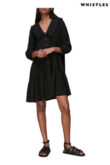 Whistles Black Emery Collar Deatil Tiered Dress