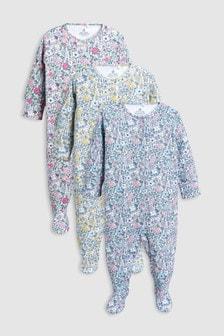 小碎花花卉連身睡衣三件裝 (0個月至2歲)