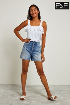 F&F Blue Button Front Short