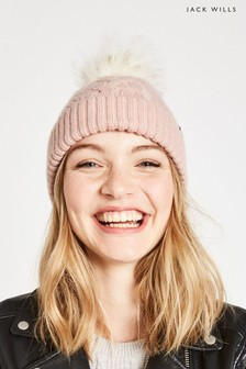 Jack Wills Pink Dorchester Cable Hat