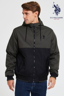 Куртка-бомбер с капюшоном в стиле колор-блок U.S. Polo Assn.