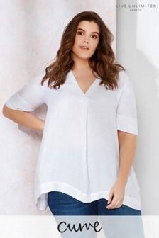 Live Unlimited White V Neck Chambray Shirt