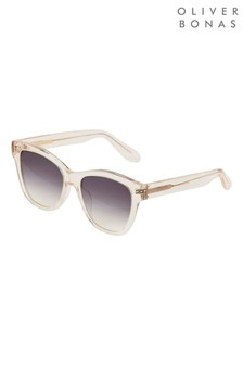 Oliver Bonas White Havana Square Clear Yellow Acetate Sunglasses
