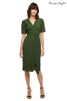 Phase Eight Sage Nancy Wrap Bleted Texture Dress