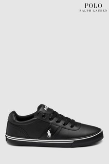 Ralph Lauren Black Leather Hanford Trainer
