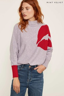 Mint Velvet Purple Lip Motif Grown On Neck Batwing Jumper