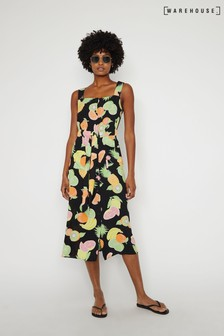 Warehouse Black Fruit Salad Midi Dress