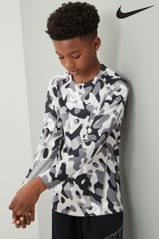 Nike Therma Black/White Camo Long Sleeve Base Layer