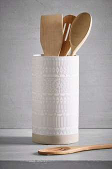 Ceramic Embossed Utensil Pot