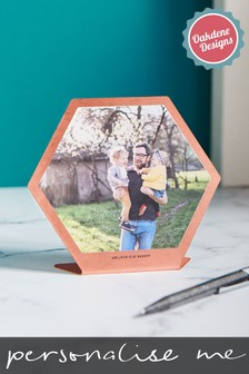 Personalised Copper Hexagonal Photo Print by Oakdene Designs