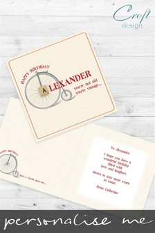 Personalised Penny Farthing Happy Birthday Single Card by Croft Designs
