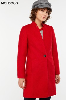 Monsoon Red Jenny Bouclé Coat