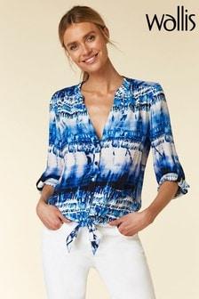 Wallis Blue Dip Dye Tie Front Top