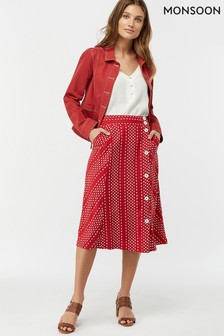 Monsoon Ladies Red Itria Printed Midi Skirt
