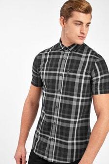 Armani Exchange Black Madras Check Shirt