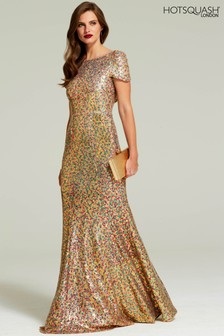 HotSquash Gold Cowl Back Sequinned Fishtail Maxi Dress