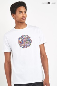 Pretty Green White Thornley Paisley Logo T-Shirt