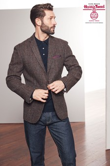 Signature British Fabric Check Tailored Fit Harris Tweed Blazer