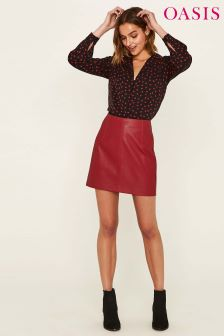 Oasis Red Leather Look Mini Skirt