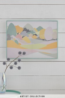 Artist Collection Pastel Peaks by Nicola Evans Framed Canvas