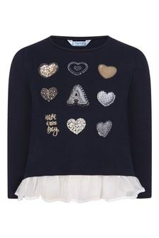 Girls Navy Hearts Cotton Long Sleeve T-Shirt
