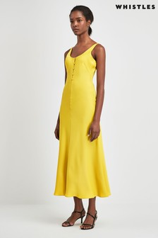 Whistles Yellow Pipa Satin Slip Dress