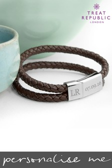 Personalised Men's Dual Brown Leather Bracelet by Treat Republic