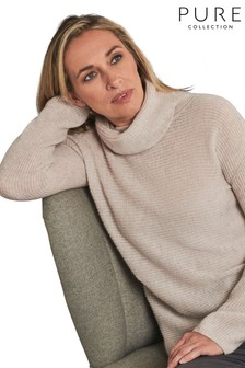 Pure Collection Cream Gassato Ribbed Bardot Sweater
