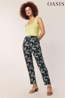 Oasis Natural Aloha Print Peg Trouser