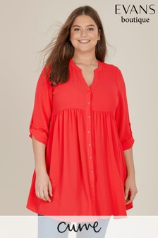 Evans Peach Curve Coral Gathered Waist Tunic Top