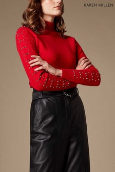 Karen Millen Red Embellished Sleeve Roll Neck