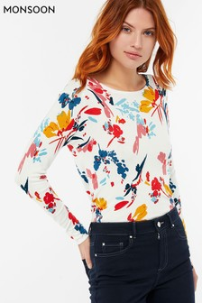 Monsoon Multi Pami Painterly Floral Jumper