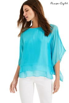 Phase Eight Blue Belle Rose Double Layer Silk Blouse