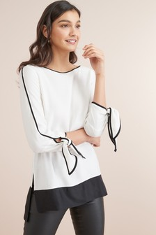 Piped Tie Sleeve Tunic