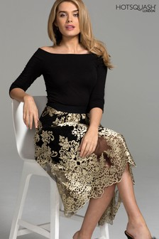 HotSquash Gold Embellished Detail Carrie Skirt