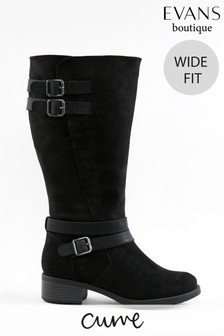 Evans Curve Wide Fit Black Rider Boots
