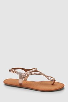 97b38e36614 Plaited Toe Thong Sandals