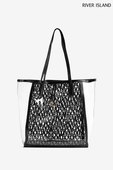 River Island Black Perspex Logo Beach Bag