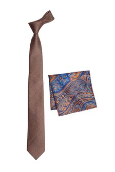 Tie With Paisley Pocket Square Set