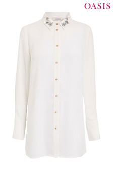 Oasis White Star Embellished Collar Shirt